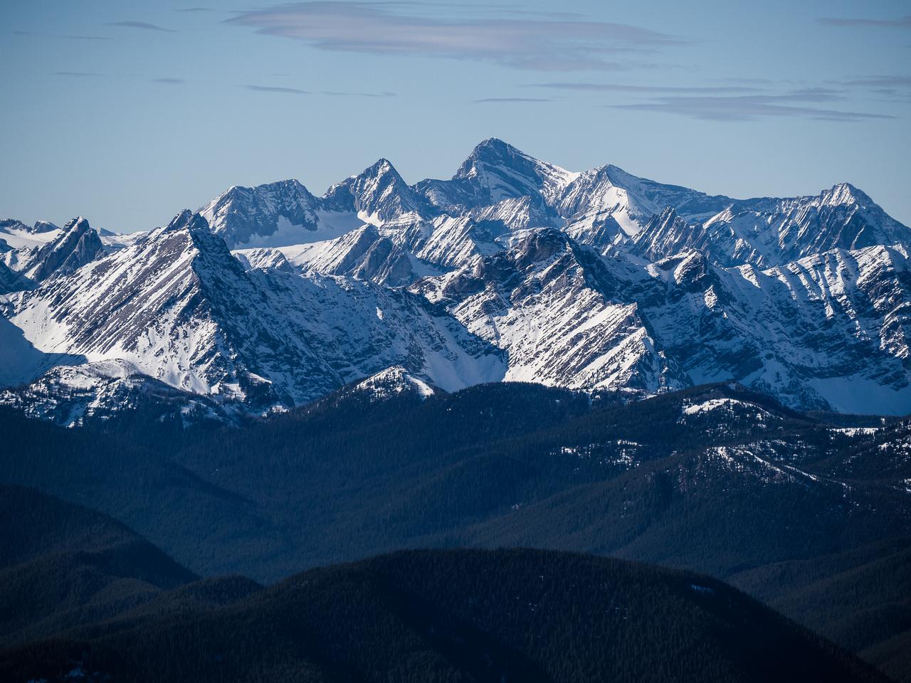 Mount Joffre and surrounding peaks including Nivelle, Ney, Castelnau, De Gaulle and McCuaig.