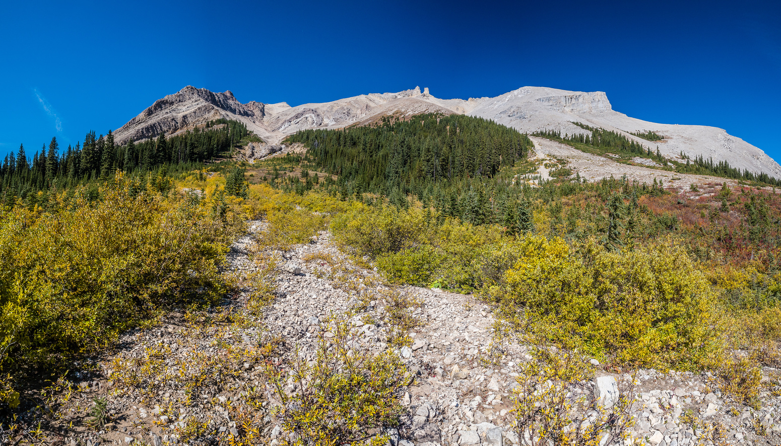Looking back up at the Pipestone massif from the lower SE gully.