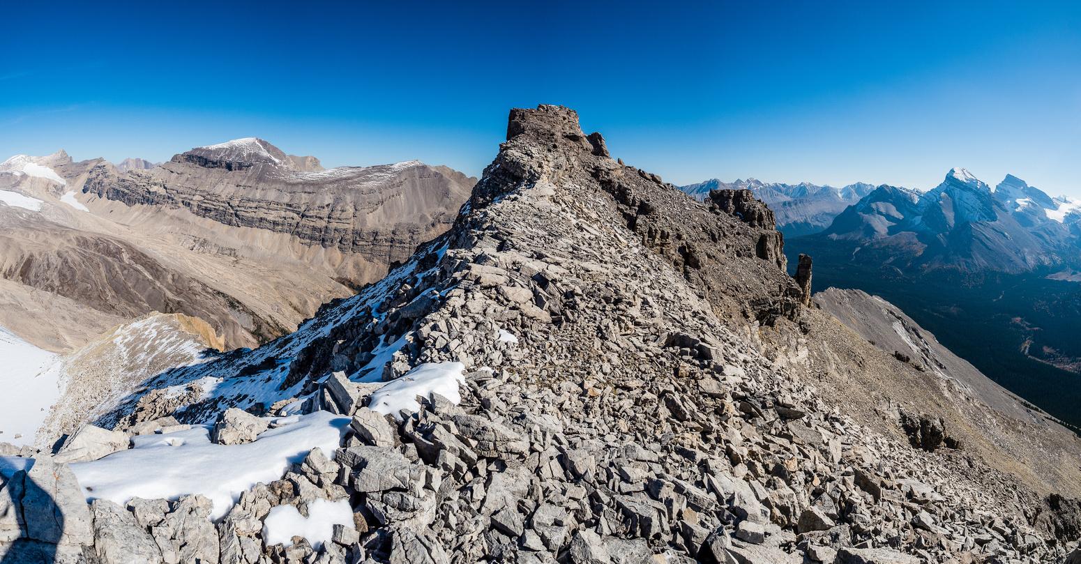 Phil comes down the summit ridge.
