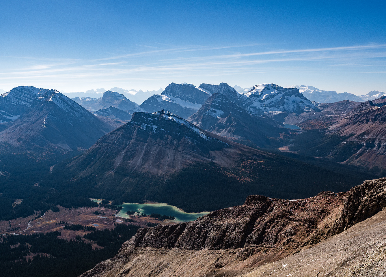 Looking over the largest of the Red Deer Lakes towards Skoki Mountain.