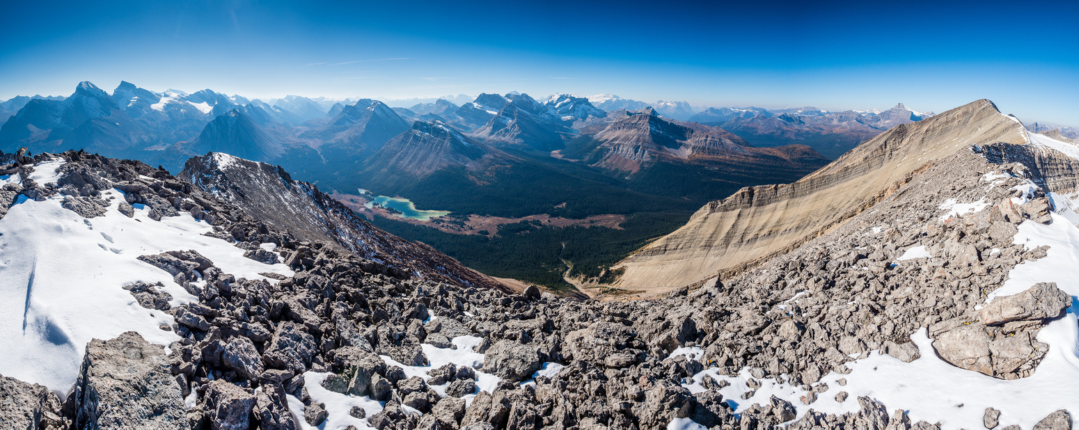 Summit views looking west towards Lake Louise. Cyclone now at far right and the false summit at left.
