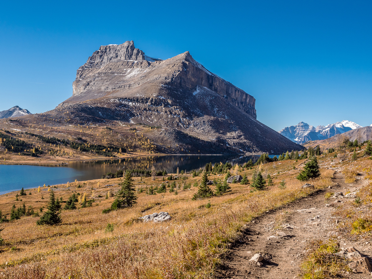 I love this impressive view of Redoubt Mountain from the trail around Ptarmigan Lake.