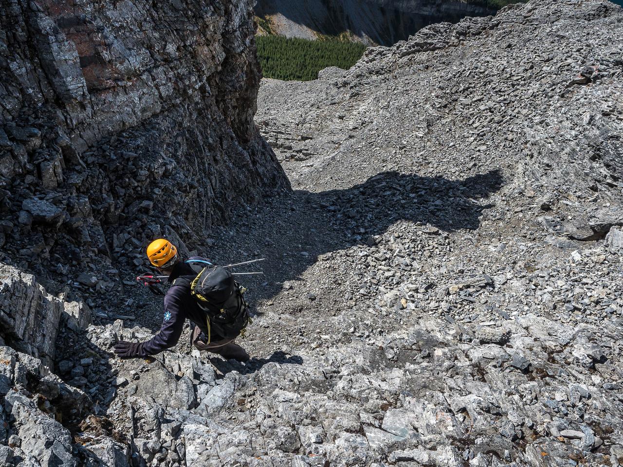 Descending below the crux towards the south ridge.