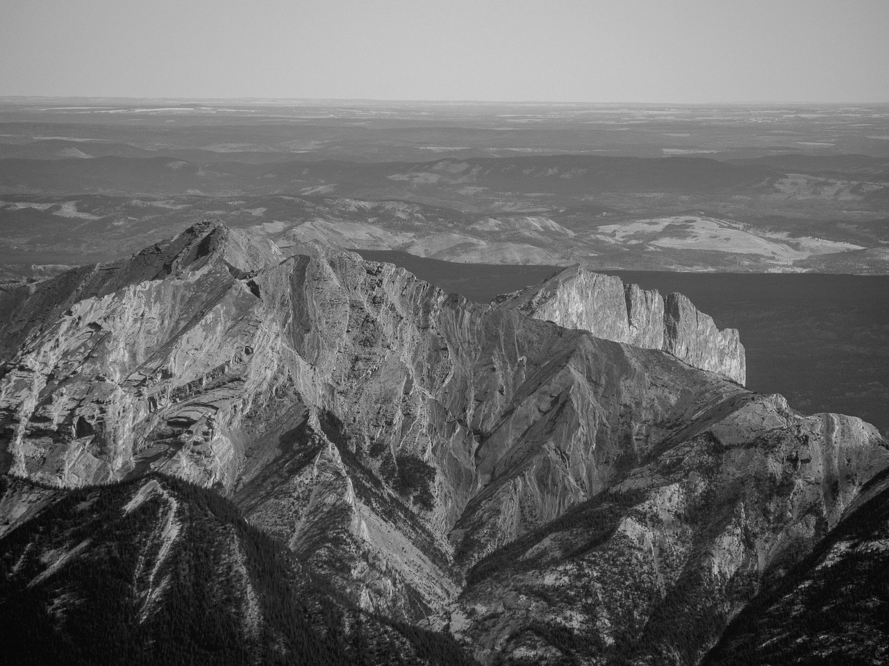 Looking over Goat Mountain to a tiny Yamnuska.