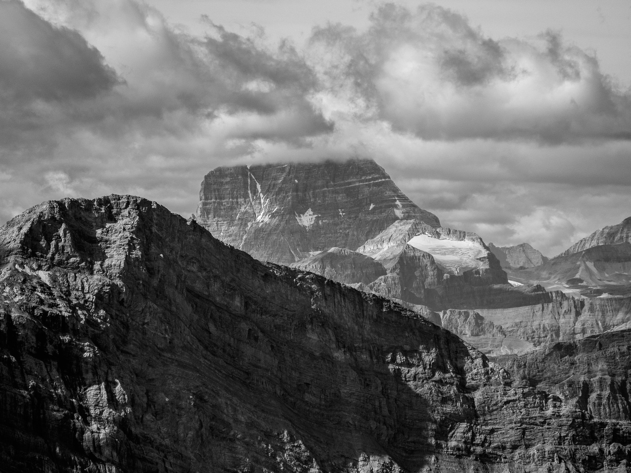 Instead of buried in smoke, Mount Assiniboine is now buried in clouds.
