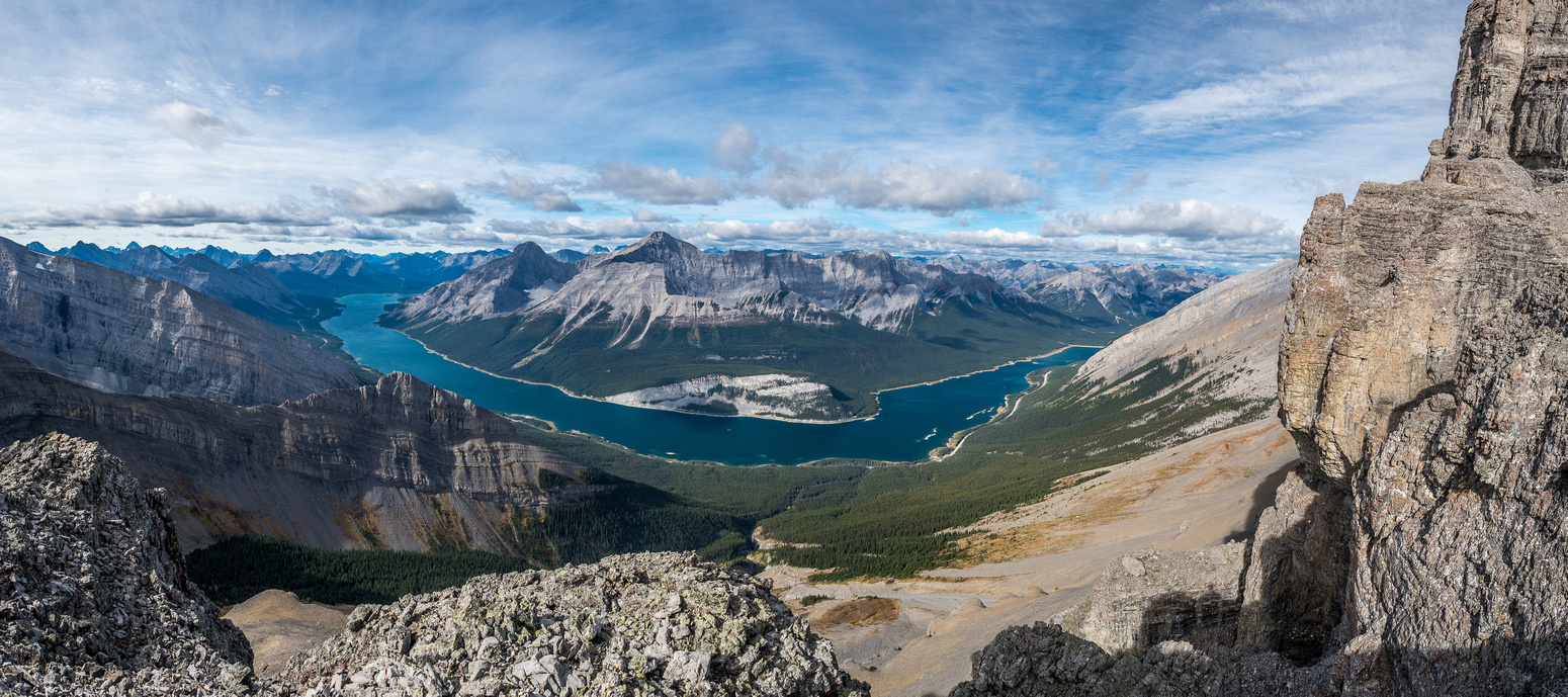 rom just above the lower crux gully, looking back over Spray Lakes.