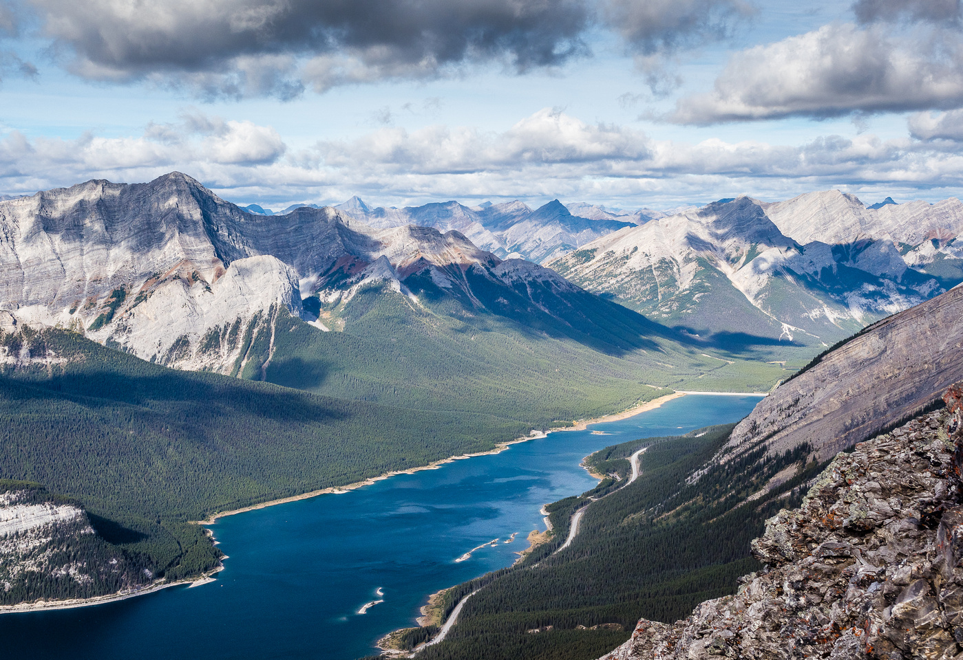 Looking northwest over Spray Lakes towards Goat View.
