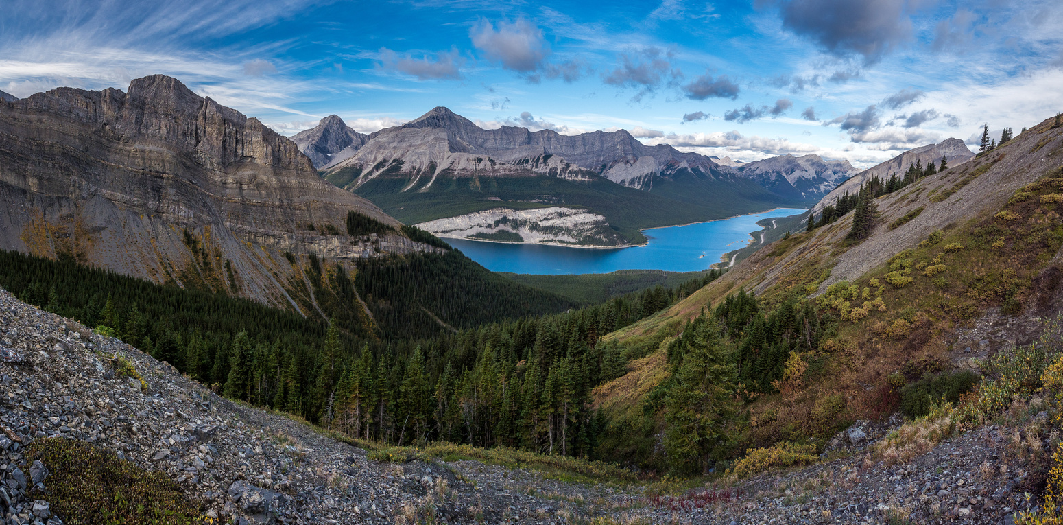 Great views back over our approach route down to the lovely Spray Lakes. Little Lougheed at left here.