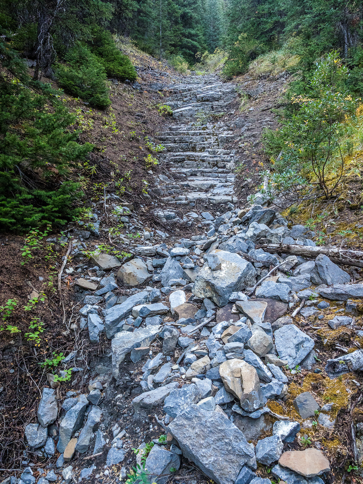 One of the neat staircase drainages we ascended.