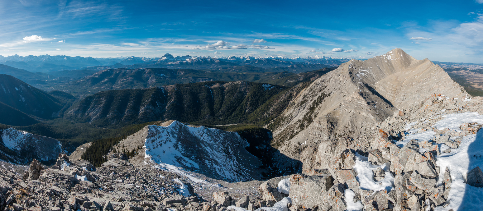 A great view over the west ridge of Caudron (L) and Centre Peak (R).