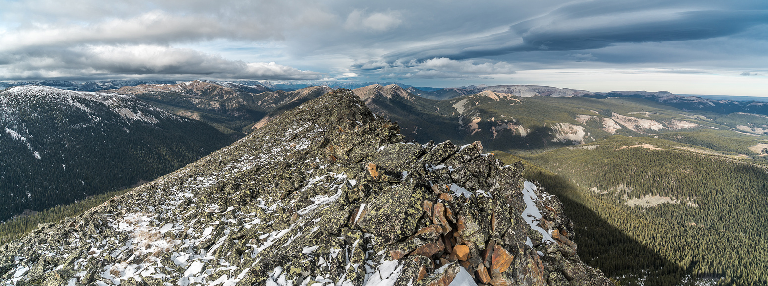 Looking north along Monad's ridge from the northern high point towards Pasque and Plateau.
