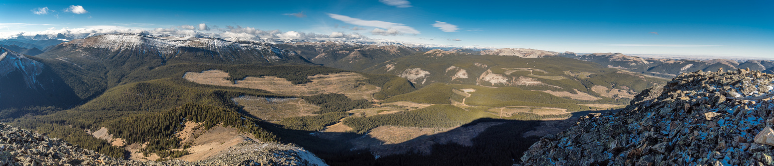 Excellent panorama from the summit from Monad on the left to Pasque, Plateau, Sentinel and Hailstone Butte (L to R).