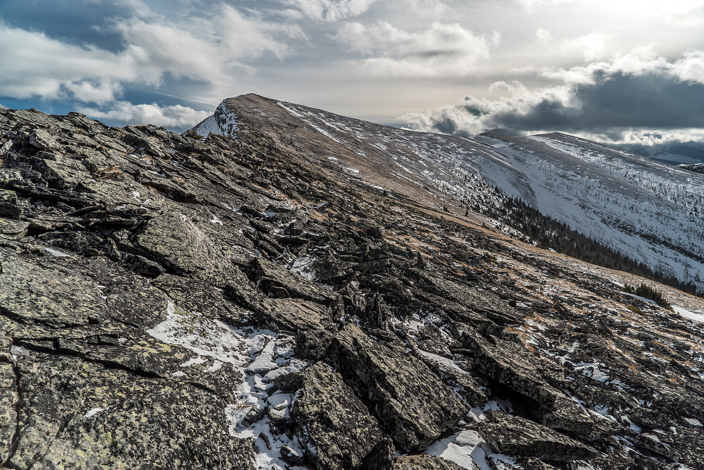 Part of the broken ridge traverse as we work our way up to the summit of Monad where Raf awaits patiently.