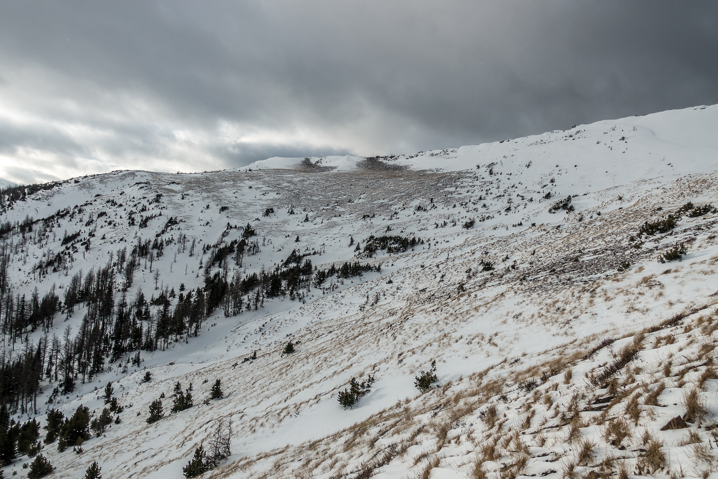 Our route up to the north ridge is obvious from the road - we simply avoided as much of the snow as possible.