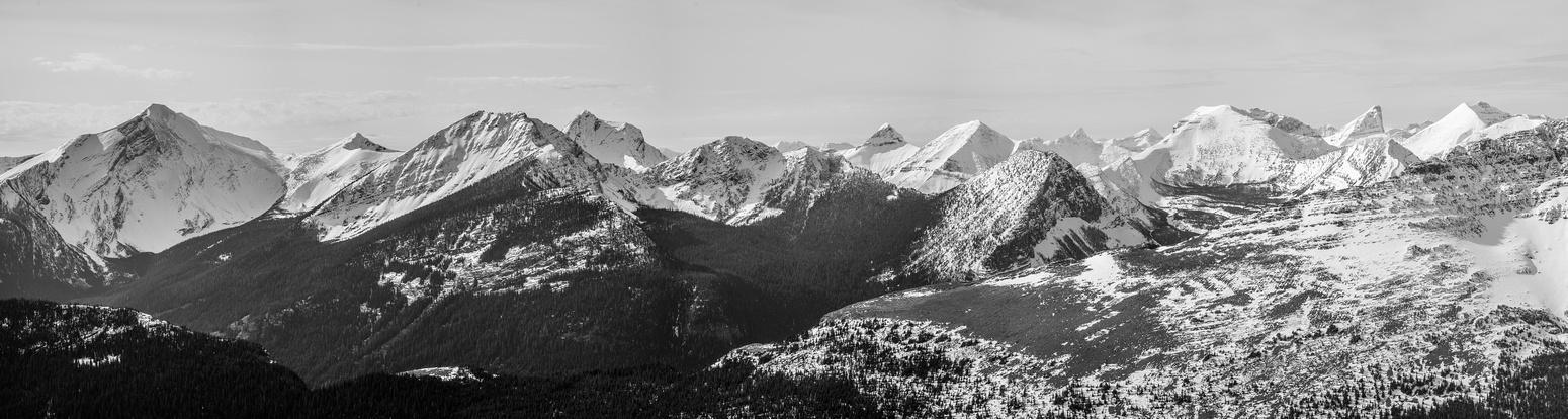 """Jake Smith Peak (L), Rainy Ridge, """"Krowicki Peak"""", """"Mount Miles"""", """"Middle Kootenay Mountain"""", and Tombstone Mountain (R)."""