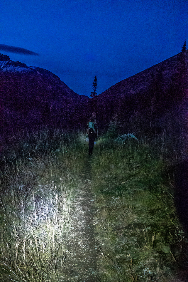 Night settles in around us - thank goodness for the well-defined trail!