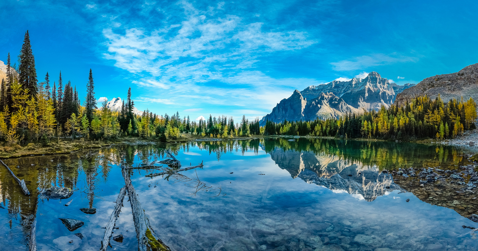 Schaffer Lake never disappoints with great views back towards Wiwaxy Peaks and Mount Huber.