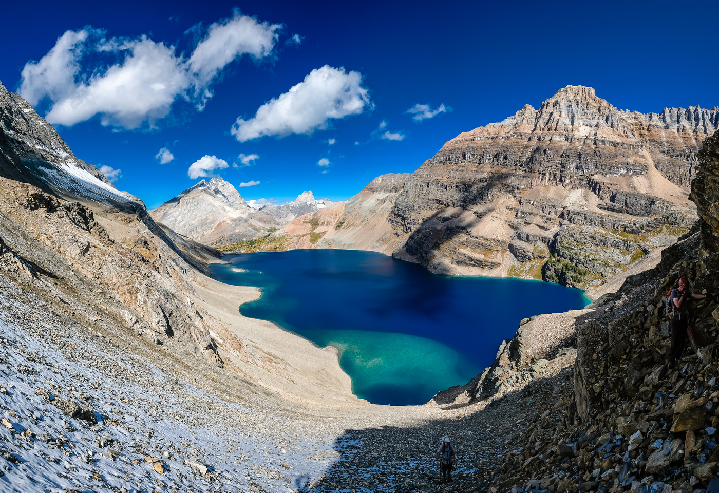 The view of McArthur Lake was a nice distraction behind us as we grunted up to Biddle Pass.