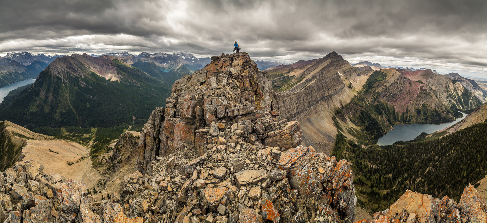 Fantastic exposure to the summit of Mount Richards! Upper Waterton Lake at left and Bertha Lake at right.