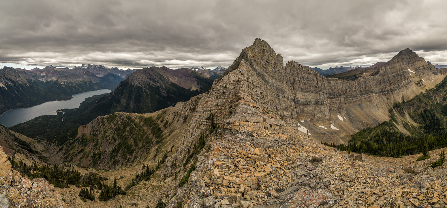 Looking ahead at the very intimidating summit ridge to Mount Richards. Left is tough. Right is tough