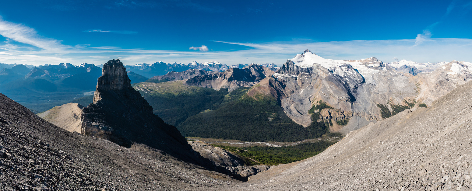 Looking back down the endless scree bowl as we slowly get higher than Molar Tower.