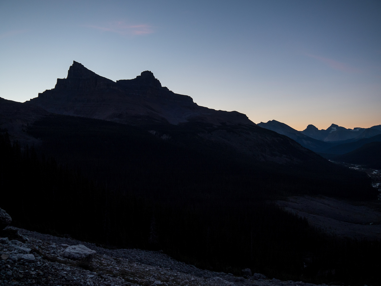 It's still very dark as we make our way down the Karst terrain east of Hector Pass.