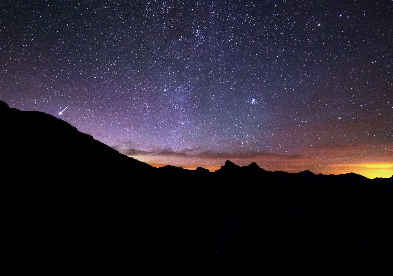 A Perseid Meteor flares out at left with Molar at center.