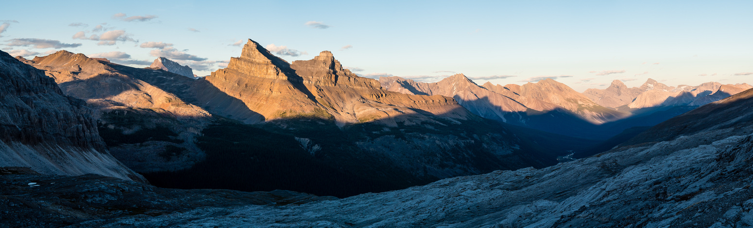 Cataract Peak to the left of Molar and Cyclone, Douglas and St. Bride at right as the shadows of night creep over the Molar Creek valley beneath Hector Pass.