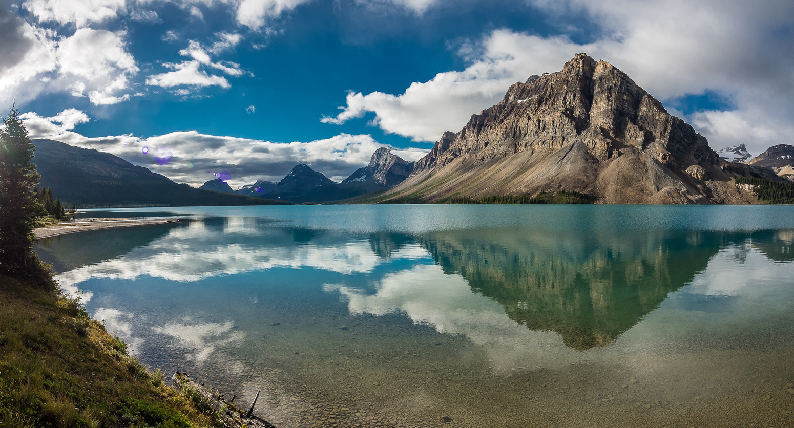Obligatory shot of Bow Lake from the shoreline trail, which we followed for about 5 minutes.