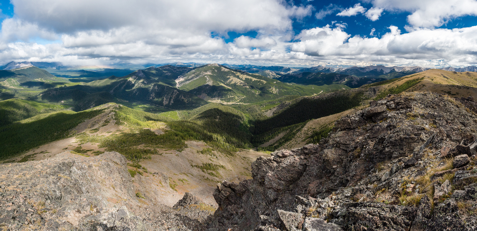 Looking north from the summit at an unnamed ridge with McGillivray at far right.
