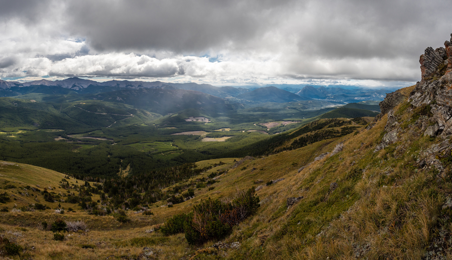 Looking back along the south end of McGillivray towards the town of Coleman as we gain the ridge crest.