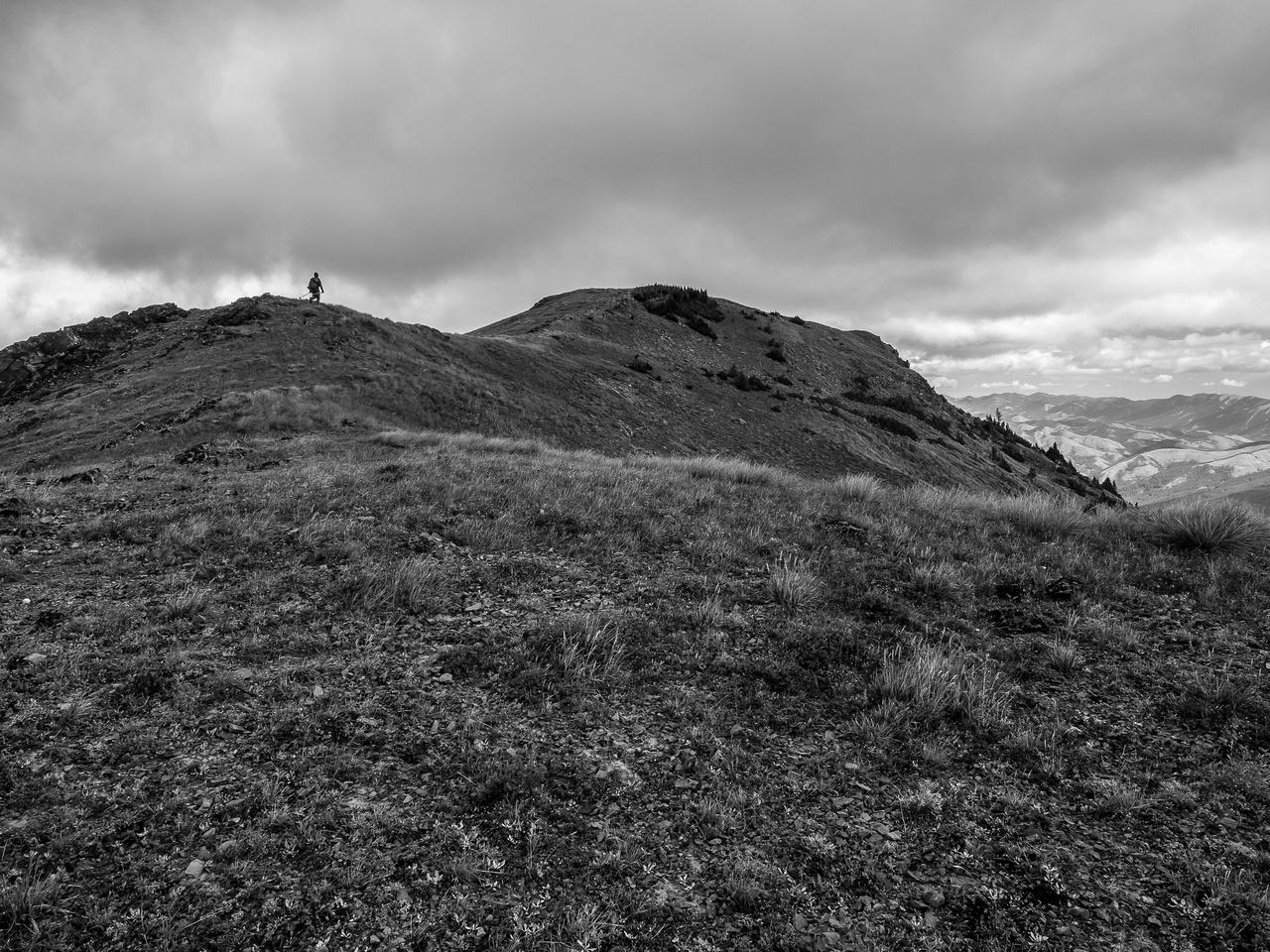 Hiking to the summit of McGillivray Ridge.