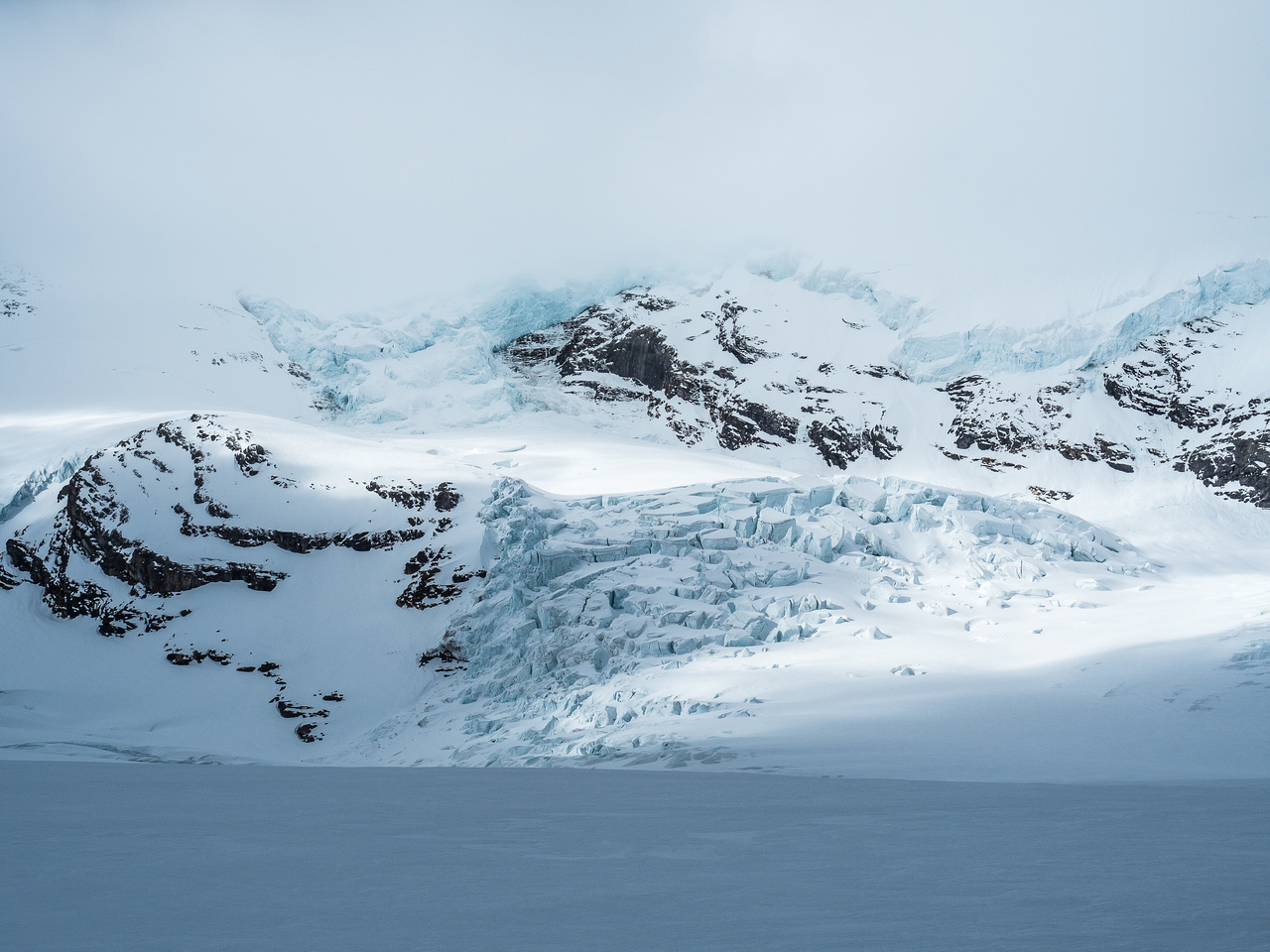 The icefall coming down the so-called 'Robson Cirque' is pretty impressive.