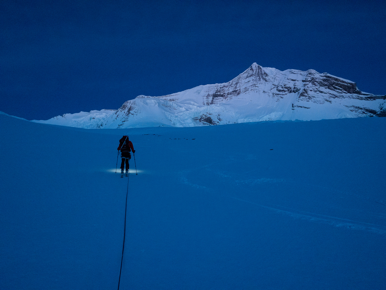 Heading up the Robson Glacier at first light. The Dome is directly above us here.