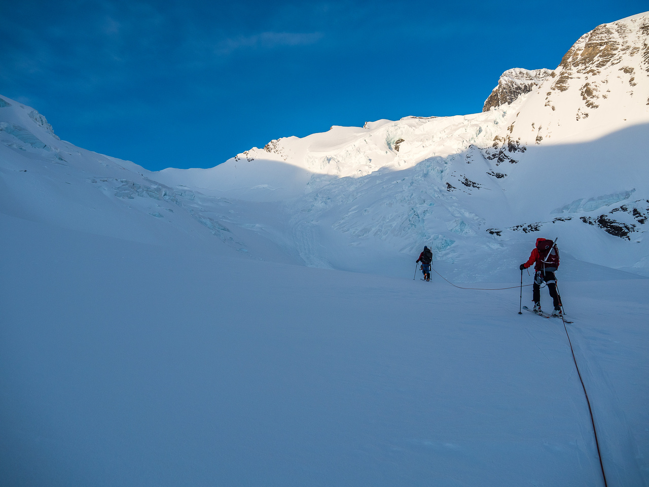 Skiing below the Mousetrap. We'll go left here to work our way through crevasses and seracs visible at upper left.