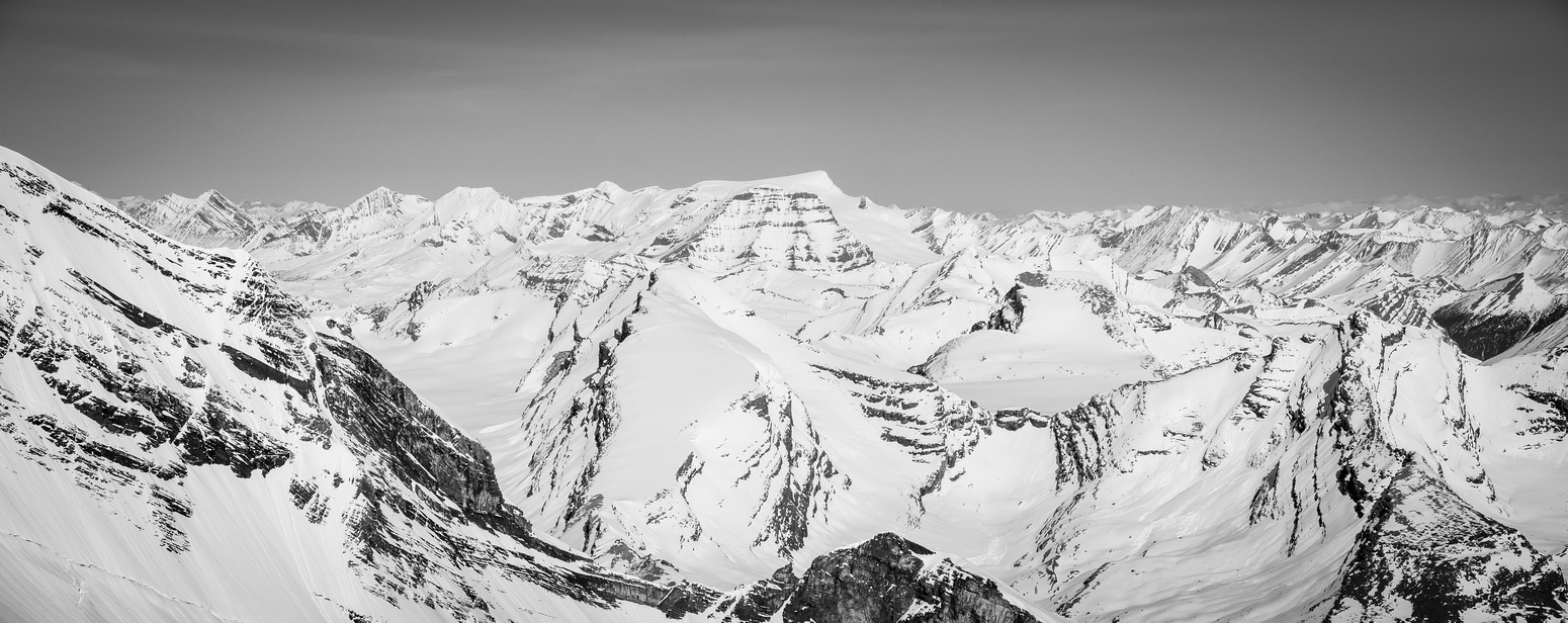 Looking north over Anne-Alice, the Mural Glacier and Gendarme Mountain towards the obvious bulk of Mount Chown.