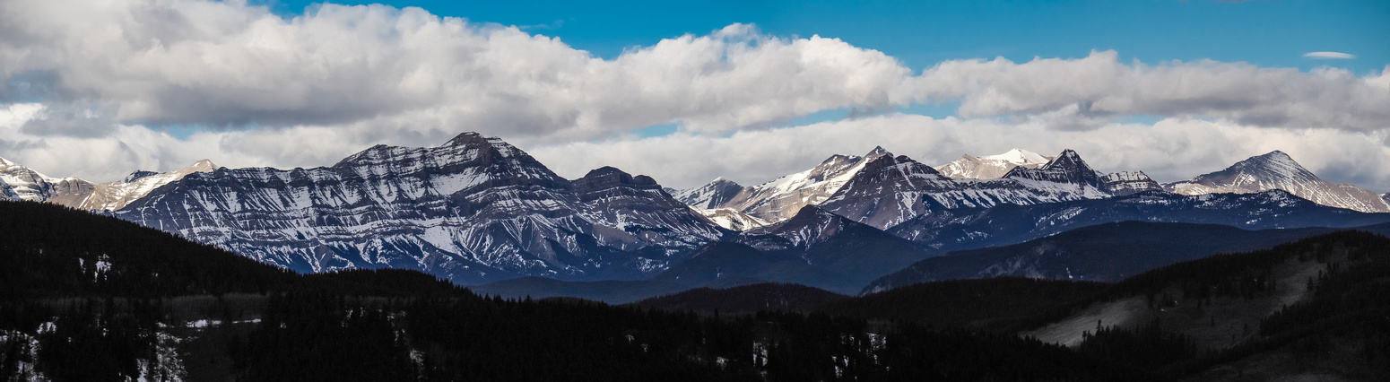 Panorama of familiar Kananaskis Peaks including (L to R), Bluerock, Cougar, Rose, Threepoint.