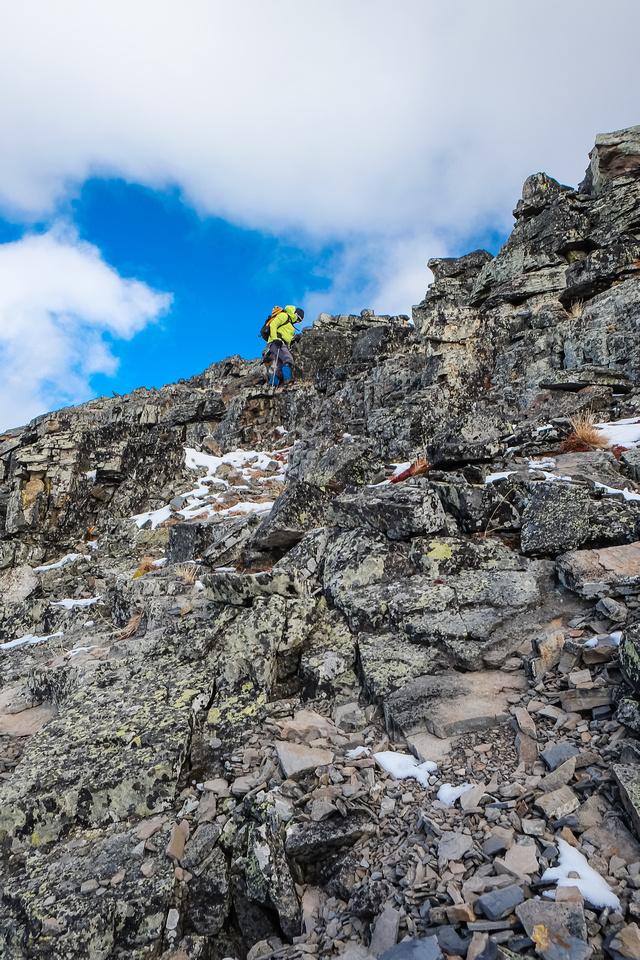 Easy scrambling at the summit block.