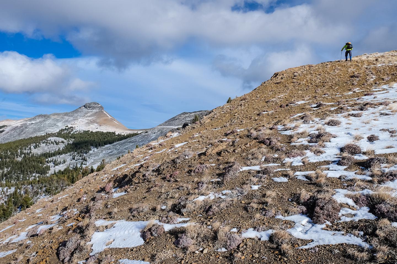 Ascending the access ridge to Cabin Ridge.