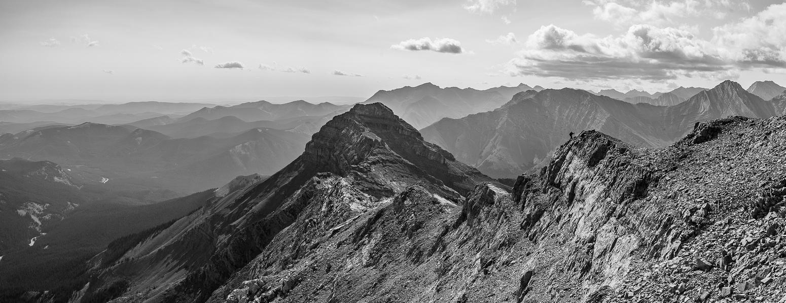 Steven scrambles up the summit ridge on Nugara's difficult line.