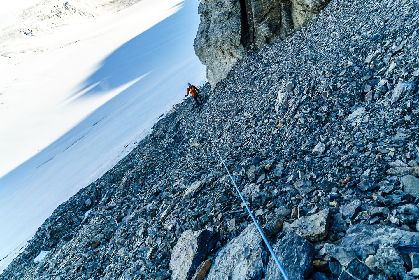 The gravel was typical loose glacier till, but it was quick to descend.