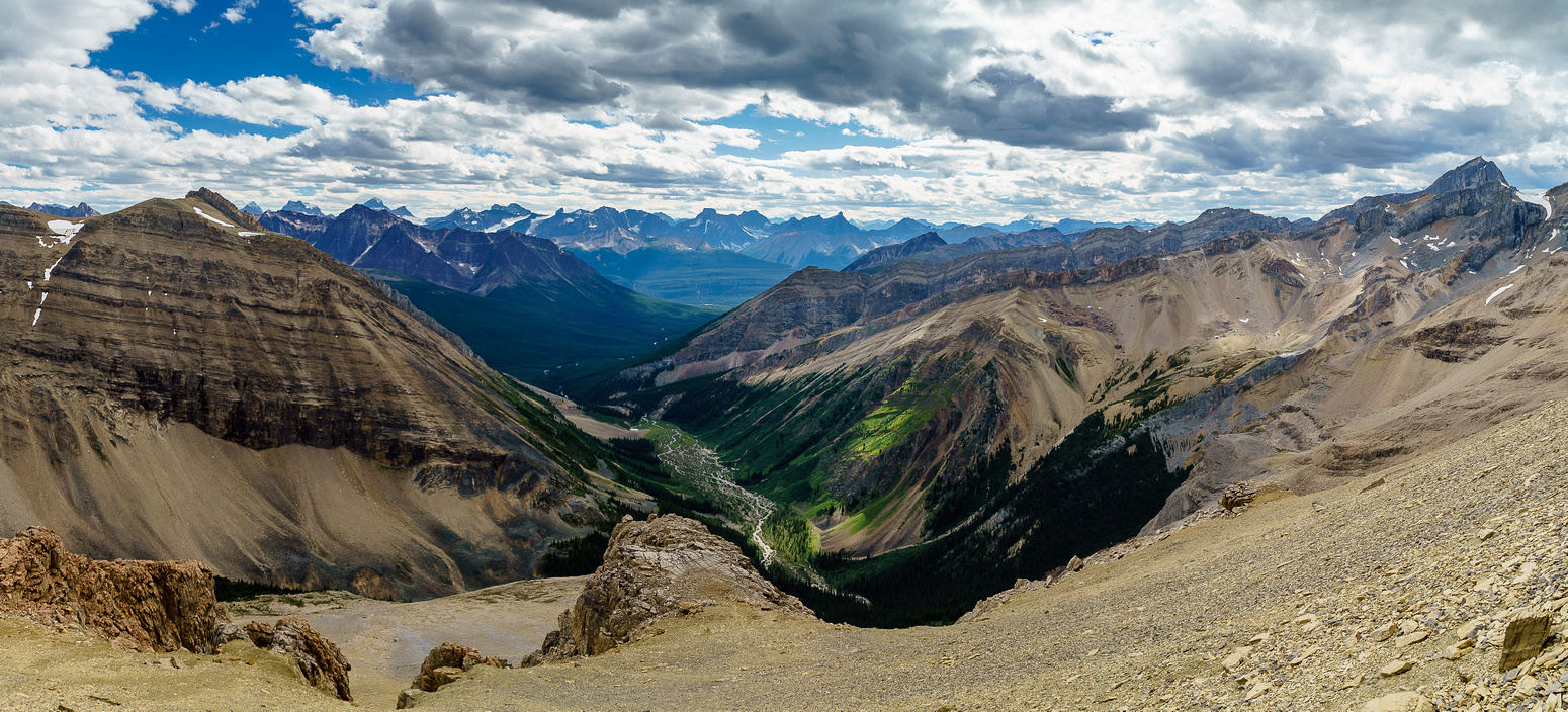 Great views over our approach valley and the Poboktan Creek valley in the far distance. Coronet on the right.