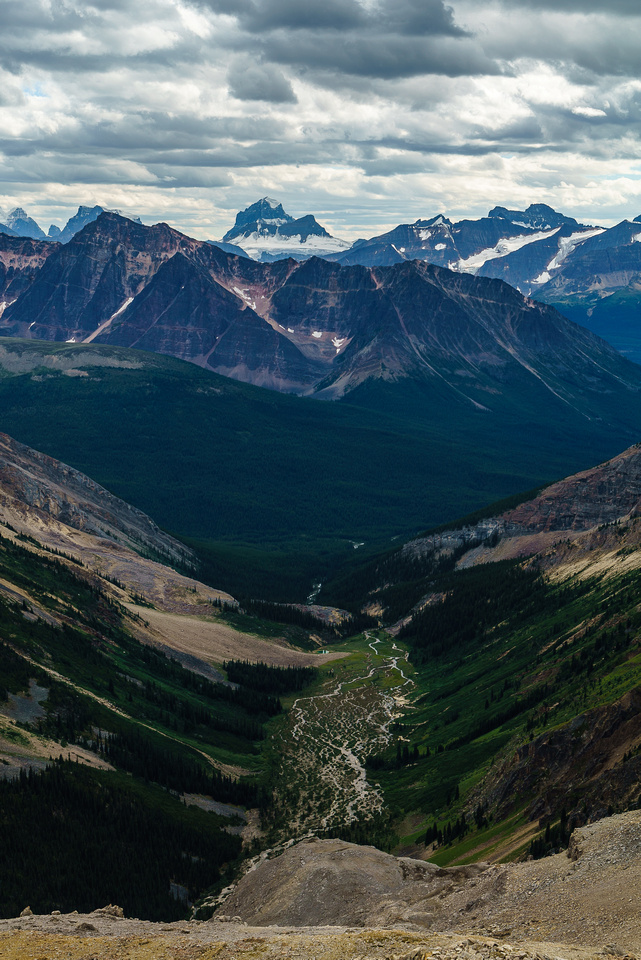 The open valley we crossed on the approach with the braided North Fork of Poboktan Creek visible running through it.