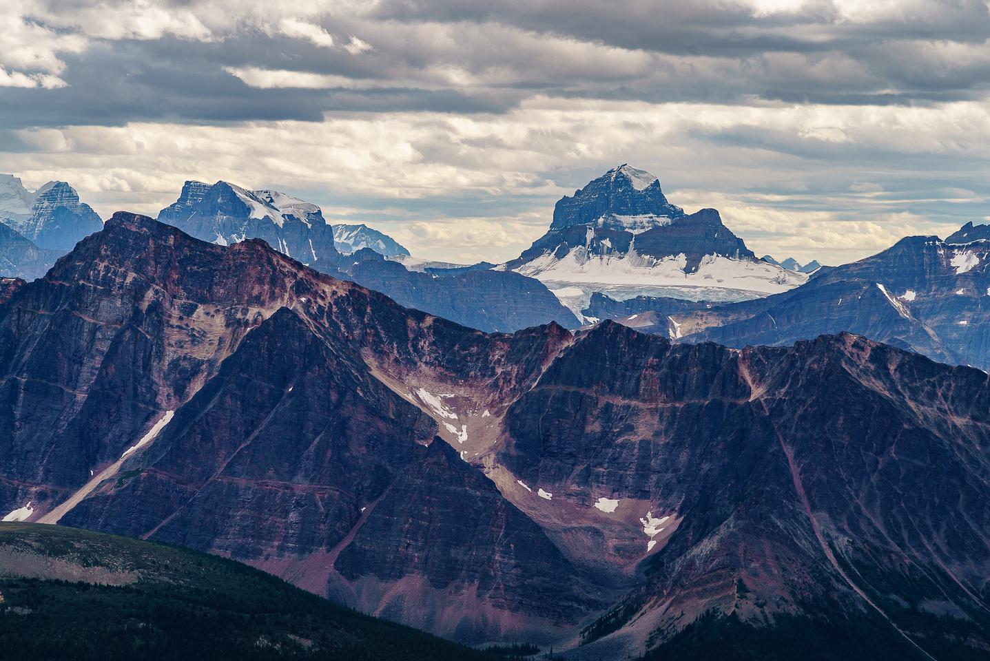 Great views of Mount Alberta from bivy ridge.