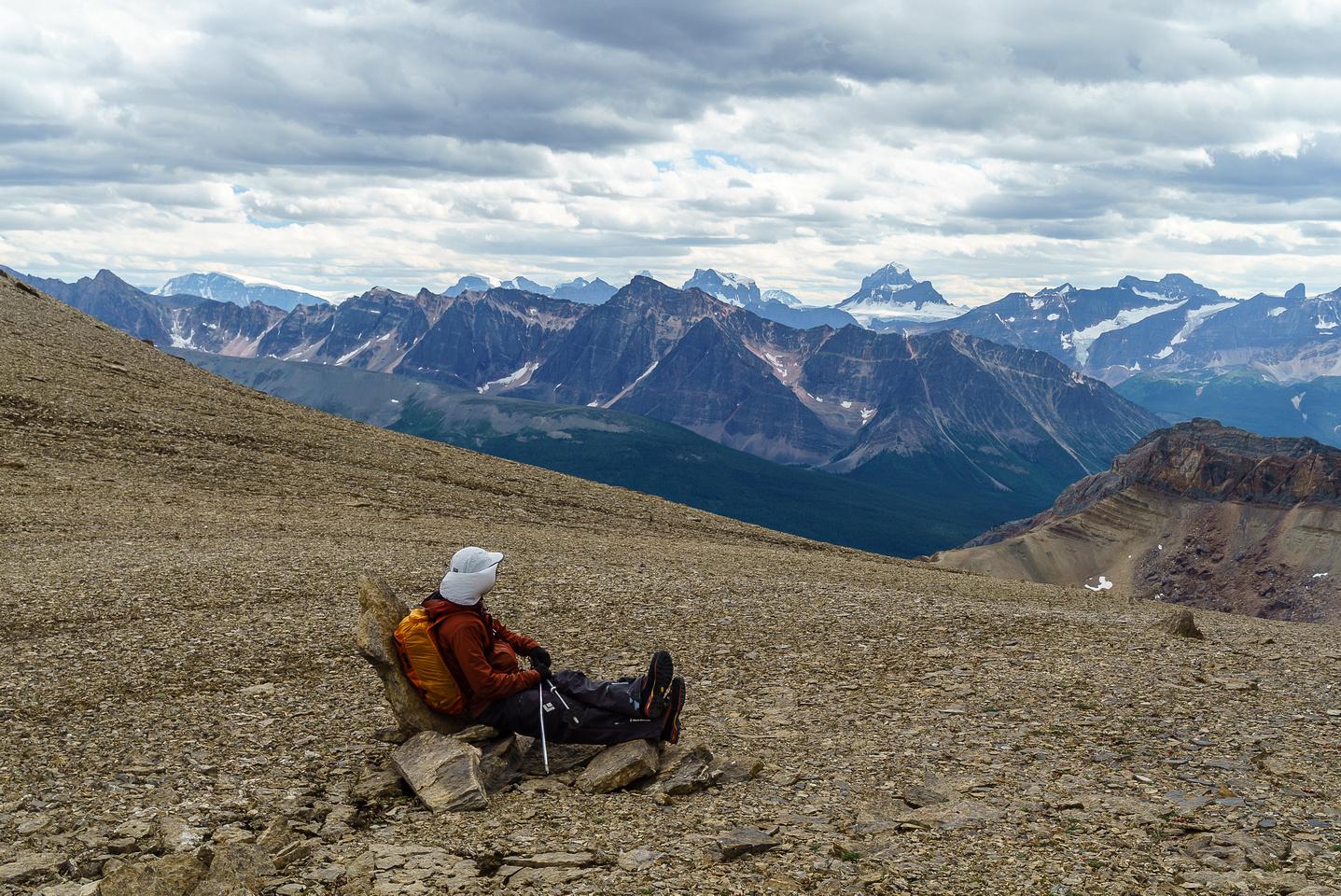 """Ben takes a kick back on our way to """"bivy ridge""""."""
