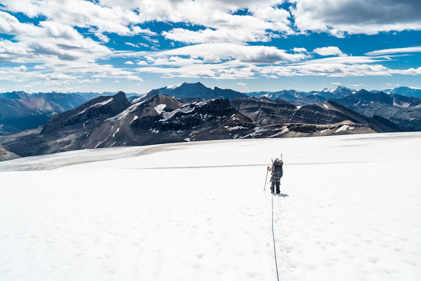 Descending the Brazeau Glacier.