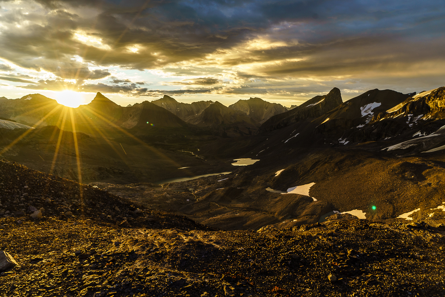 The morning view from camp looking over Swan Pass.