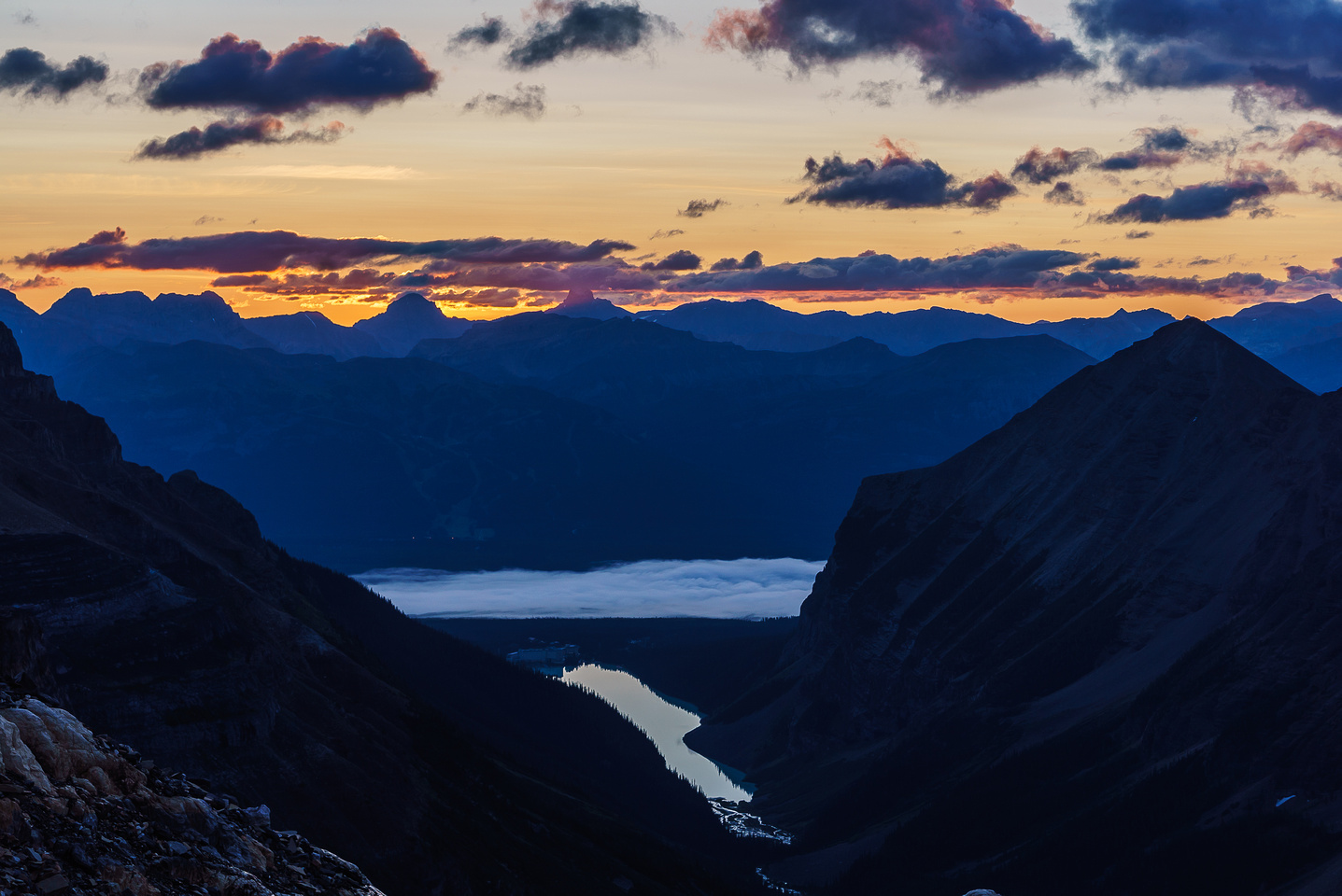 Sunrise over Lake Louise - Fairview on the right.