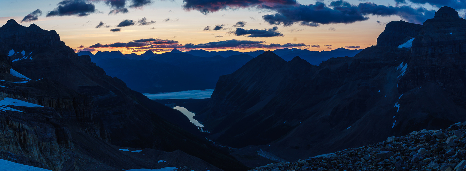 Sunrise over Lake Louise from the bivy site.