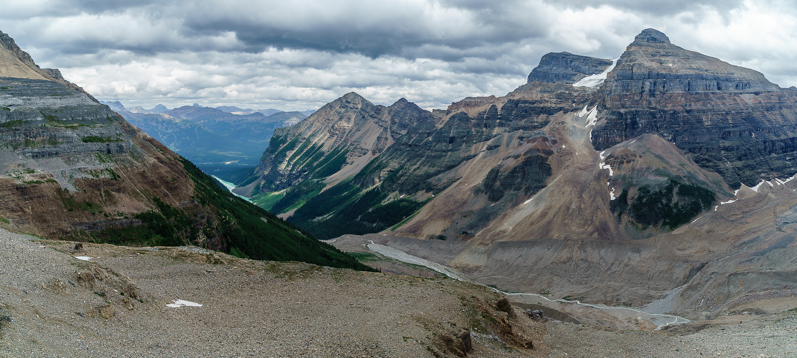 Haddo and Aberdeen start to look like mountains again as we descend towards the Plain of Six Glaciers.